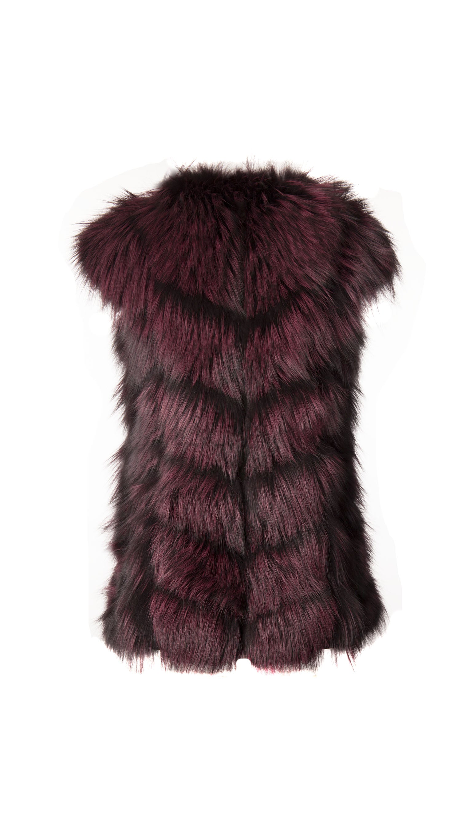 Luxy Arctic Fox Fur Gilet - Black x Wine