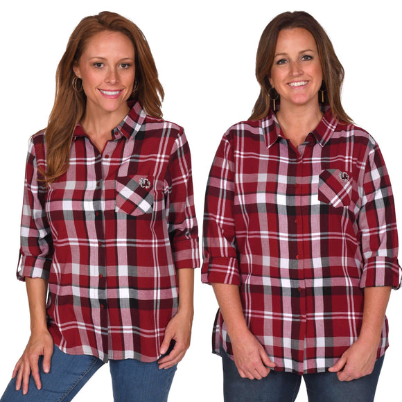Gamecocks Plaid Button-Up Shirt