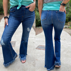 The Dolly Frayed Flare Jeans