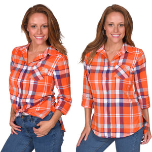 Clemson Plaid Button-Up Shirt