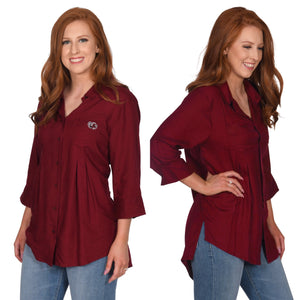 Gamecocks Front Pleat Button-Up Top