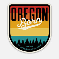 OREGON BORN SHIELD (VINTAGE SUNSET) - Sticker