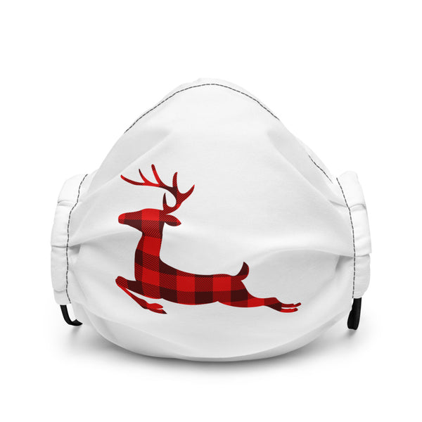 BUFFALO PLAID REINDEER - Premium Face Mask