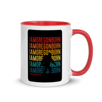 IAMOREGONBORN (Vintage Sunset w/ Bigfoot) - Mug with Color Inside