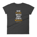 """She Flies"" State Motto with Wings -Women's Short Sleeve T-Shirt - Oregon Born"