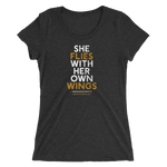 """She Flies"" State Motto with Wings -Ladies' Short Sleeve T-Shirt - Oregon Born"