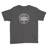 'Oregon Born' Round Logo in White - Youth Tee - Oregon Born