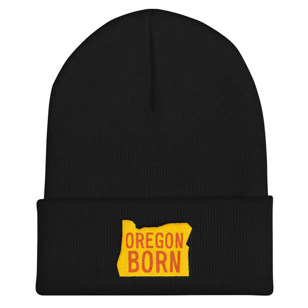 'Oregon Born' Logo (Yellow & Orange) - Knit Beanie - Oregon Born