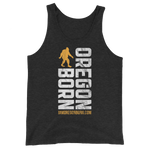 Oregon Born Vertical w/ Bigfoot (Gold & White) - Unisex  Tank Top - Oregon Born