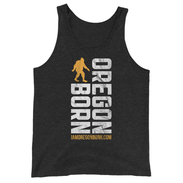 Oregon Born Vertical w/ Bigfoot (Gold & White) - Unisex  Tank Top
