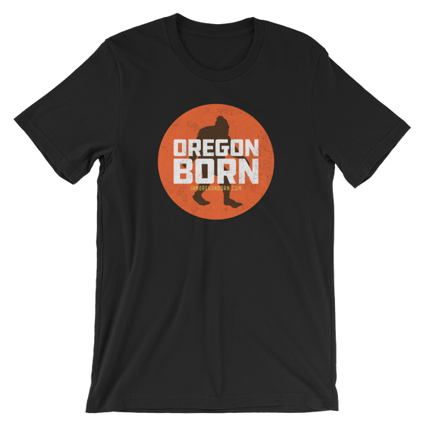 Oregon Born - Bigfoot in Orange Circle - Unisex Tee - Oregon Born