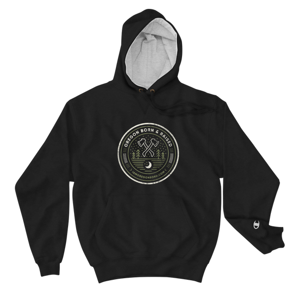 "Oregon ""Born & Raised"" Round - Champion Hoodie - Oregon Born"