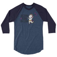 """Oregon Born Unicorn"" - 3/4 Sleeve Raglan Shirt - Oregon Born"