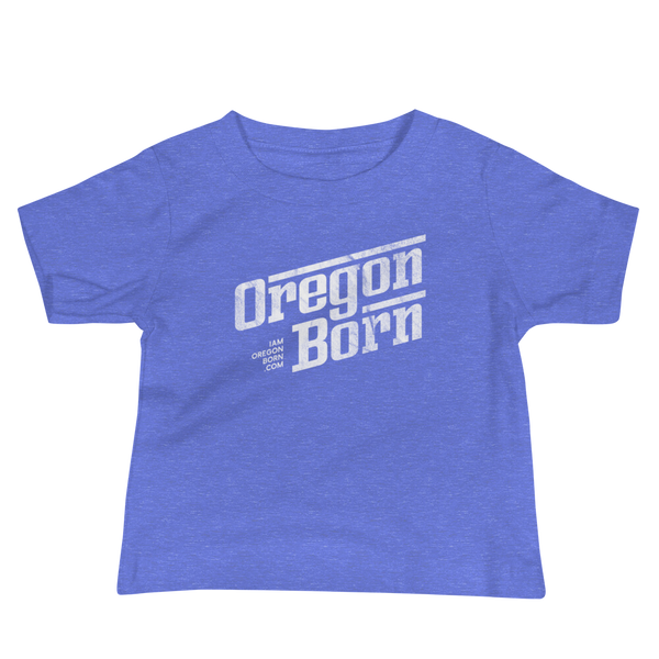 Oregon Born - Retro/Slant in White - Baby Jersey Short Sleeve Tee - Oregon Born