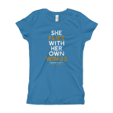 """She Flies"" State Motto with Wings -Girl's T-Shirt - Oregon Born"