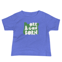 "Oregon Born ""Handcrafted"" in Green - Baby Jersey Short Sleeve Tee - Oregon Born"