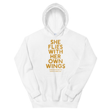 """She Flies"" State Motto with Wings - ""Exclusive White"" - Unisex Hoodie - Oregon Born"