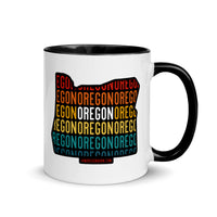 OREGON (Vintage Sunset w/ State Outline) - Mug with Color Inside