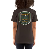 "Oregon Born - ""Get Out and Explore"" - (Back Design) Short-Sleeve Unisex T-Shirt - Oregon Born"