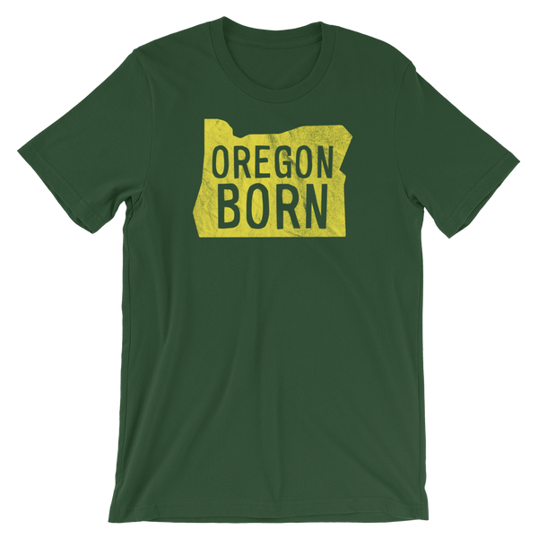 'Oregon Born' Logo in Yellow - Unisex Tee - Oregon Born