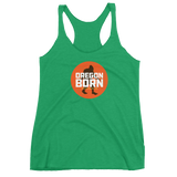 Oregon Born - Bigfoot in Orange Circle - Women's Racerback Tank - Oregon Born