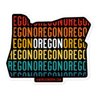 OREGON (Vintage Sunset w/ State Outline) - Bubble-Free Stickers - Oregon Born