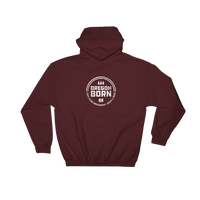 'Oregon Born' Round Logo in White - Hooded Sweatshirt - Oregon Born