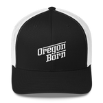 Oregon Born - Retro/Slant in White - Trucker Cap - Oregon Born