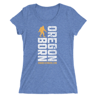 Oregon Born Vertical w/ Bigfoot (Gold & White) - Ladies' Short Sleeve Tee - Oregon Born