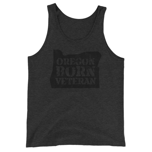 Oregon Born Veteran in Black - Unisex Tank Top - Oregon Born