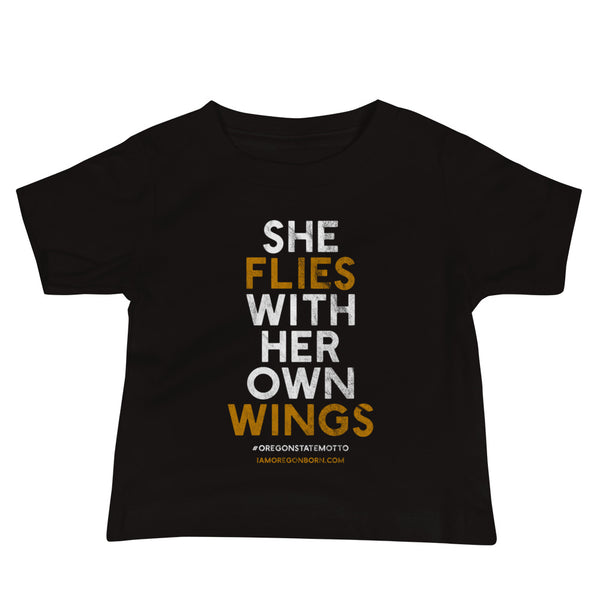 """She Flies"" State Motto with Wings - Baby Jersey Short Sleeve Tee - Oregon Born"