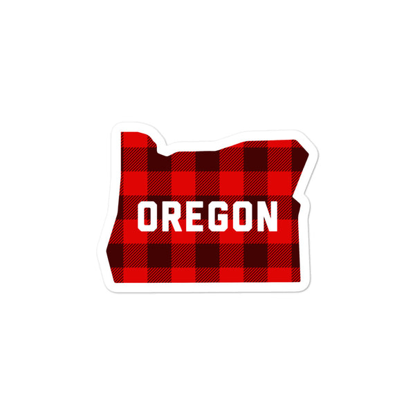 "Oregon ""Buffalo Plaid"" - Bubble-Free Stickers - Oregon Born"