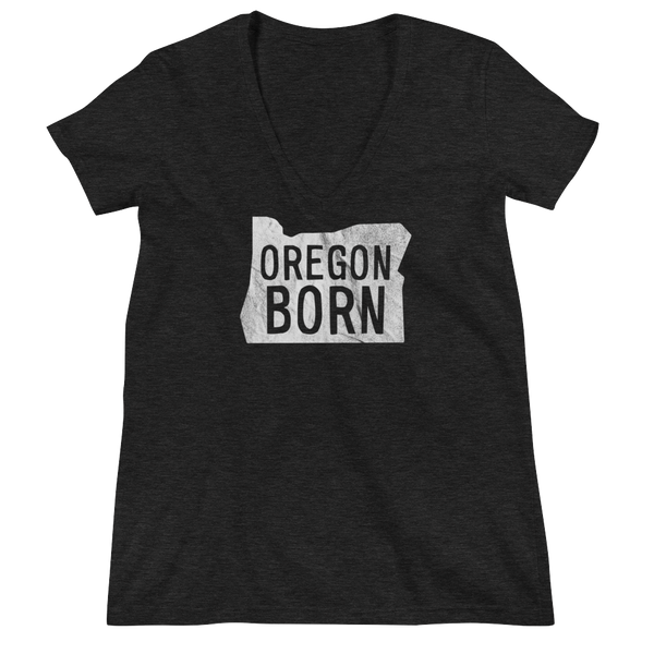 'Oregon Born' Logo - Women's Fashion Deep V-Neck Tee - Oregon Born