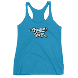Script 'Oregon Born' in White w/ Shadow - Women's Racerback Tank - Oregon Born