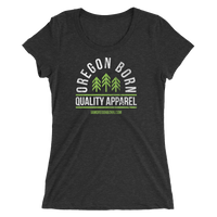 "Oregon Born ""Quality Apparel 2"" in Green & White - Ladies' Short Sleeve Tee - Oregon Born"