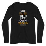 """She Flies"" State Motto with Wings - Unisex Long Sleeve Tee - Oregon Born"