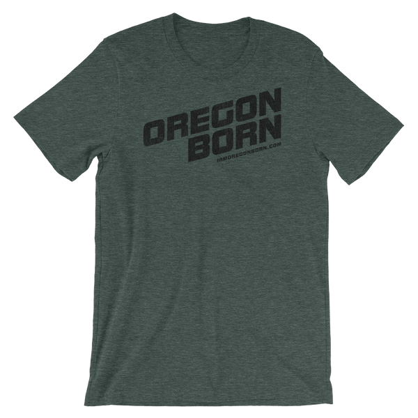 Oregon Born - Slant Text Bold -Unisex Tee (Black) - Oregon Born