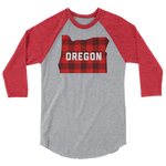 "Oregon ""Buffalo Plaid"" - 3/4 Sleeve Raglan Shirt - Oregon Born"