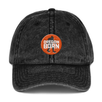 Oregon Born - Bigfoot in Orange Circle - Vintage Cotton Twill Cap - Oregon Born
