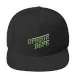 Oregon Born - Retro/Slant in Green & White - Snapback Hat - Oregon Born
