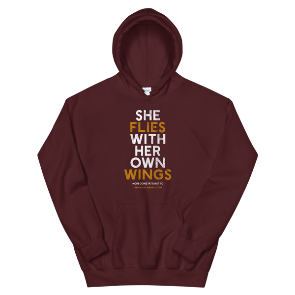 """She Flies"" State Motto with Wings - Hooded Sweatshirt - Oregon Born"