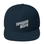 Oregon Born - Retro/Slant in White -Snapback Hat - Oregon Born