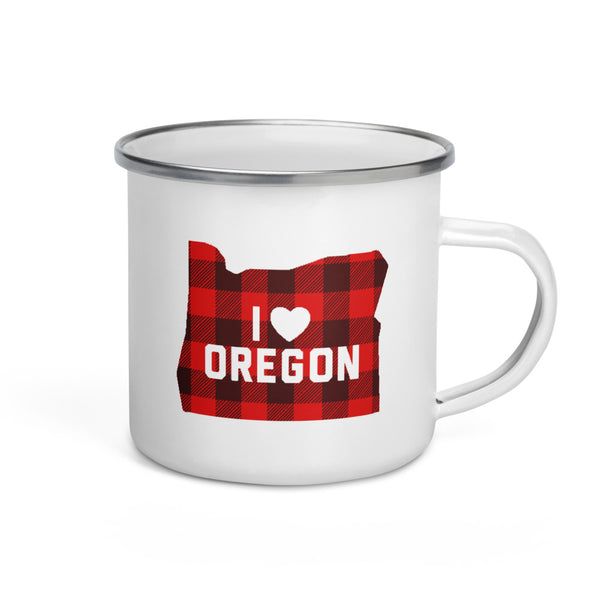 "I Heart Oregon ""Buffalo Plaid"" - Enamel Mug"