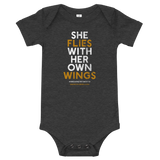 """She Flies"" State Motto with Wings - Onesie - Oregon Born"