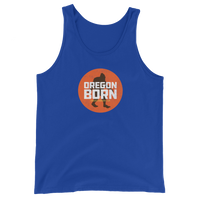 Oregon Born - Bigfoot in Orange Circle - Unisex Tank Top - Oregon Born