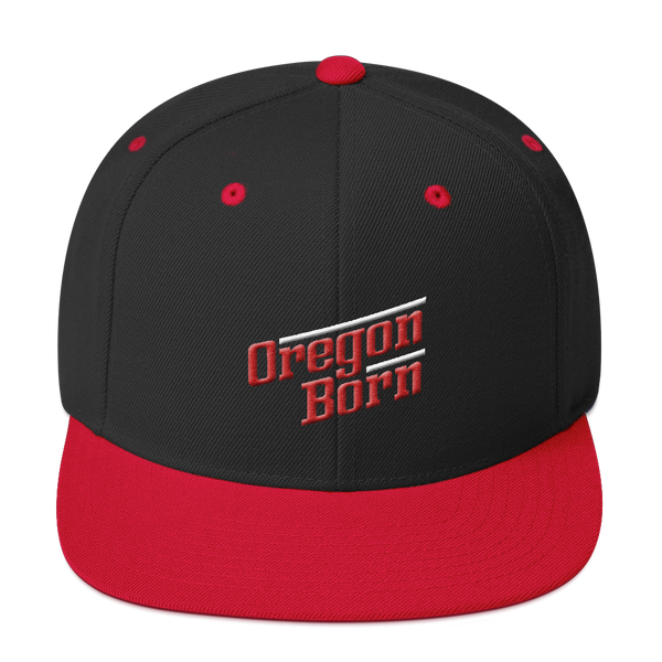 Oregon Born - Retro/Slant in Red & White -Snapback Hat - Oregon Born