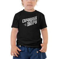 Oregon Born - Retro/Slant in White - Toddler Short Sleeve Tee - Oregon Born