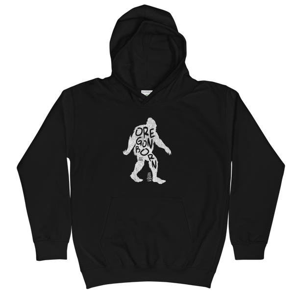 'Oregon Born Bigfoot' in White - Kids Hoodie