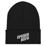 Oregon Born - Retro/Slant in White - Cuffed Beanie - Oregon Born