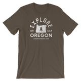 """Explore Oregon"" in White - Short-Sleeve Unisex T-Shirt - Oregon Born"